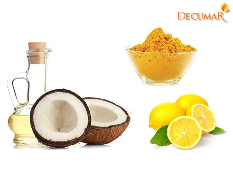 Mặt nạ dầu dừa, bột nghệ và chanh