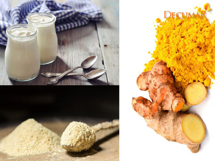 Làm đẹp bằng tinh bột nghệ, sữa chua và bột gạo sẽ giúp cho da nhanh hết mụn đồng thời chống sưng viêm