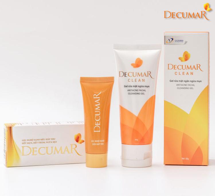 Sữa rửa mặt Decumar và Gel Decumar