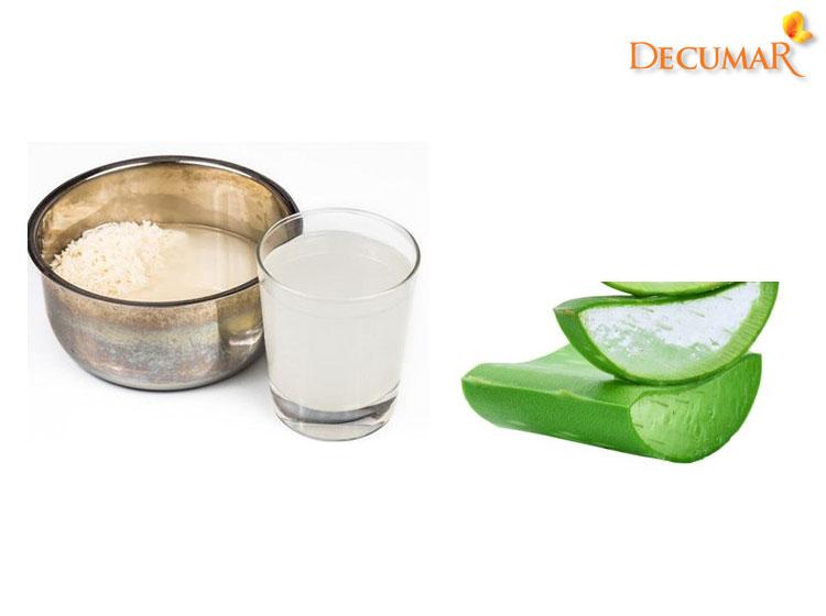 Mặt nạ nha đam và nước vo gạo