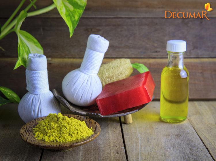 Tinh bột nghệ và dầu Olive
