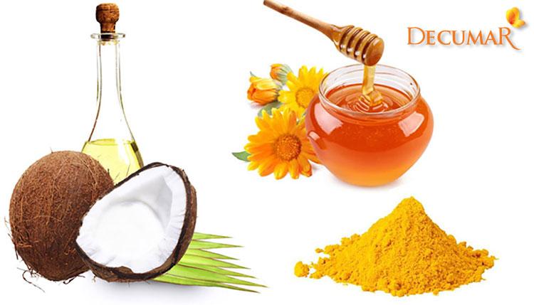 Mặt nạ tinh bột nghệ, mật ong và dầu dừa
