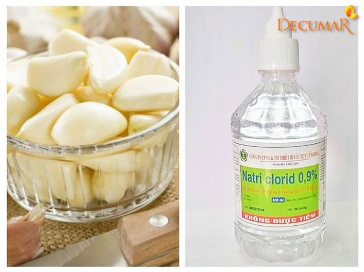 Tỏi và nước muối sinh lý