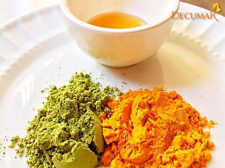 Bột nghệ và bột trà xanh