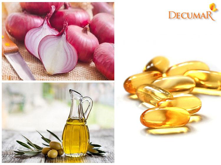 Vitamin E, dầu oliu và hành tây