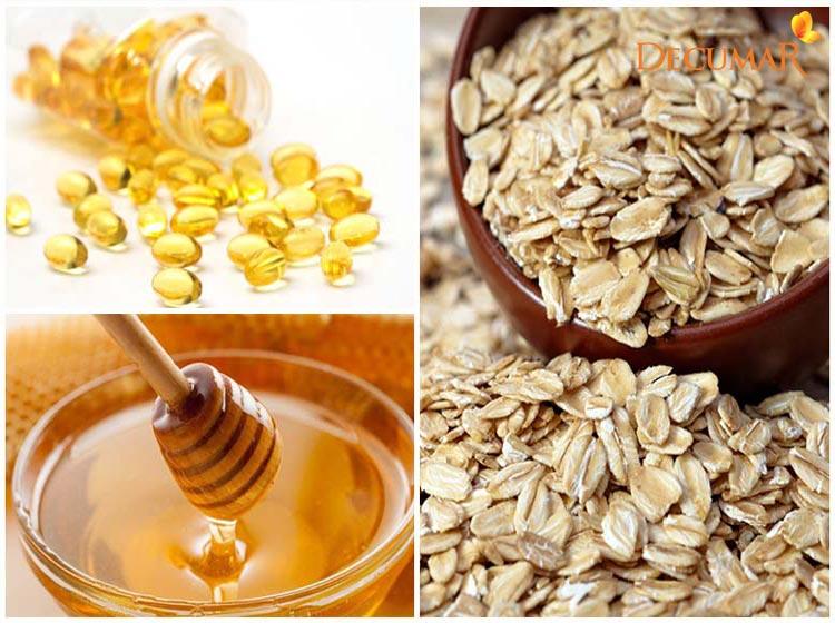 Trị sẹo thâm bằng Yến mạch, Vitamin E và mật ong