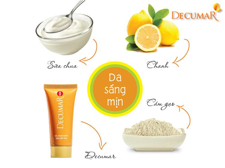 Công thức Decumar, cám gạo, chanh, sữa chua trị sẹo thâm toàn thân
