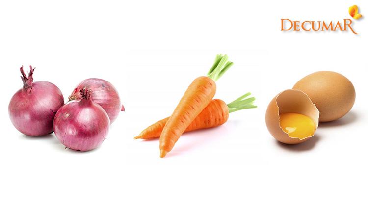 Hành tây, cà rốt và trứng gà đều là những nguyên liệu trị mụn ẩn có trong nhà bếp của bạn