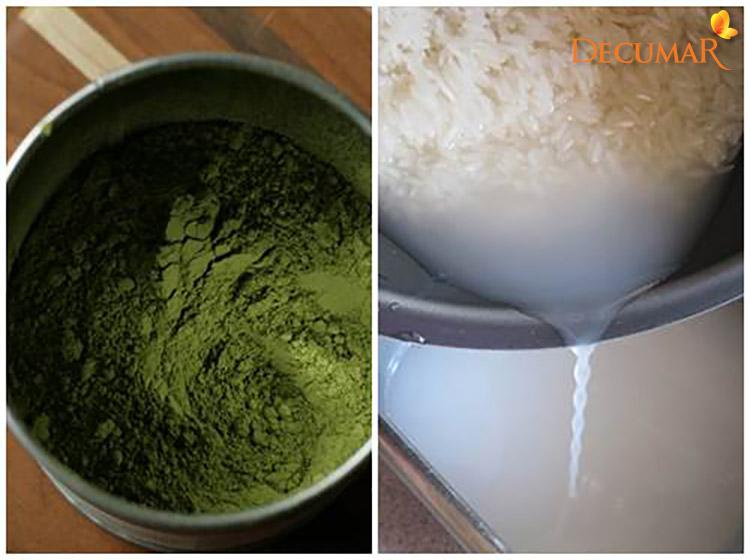 Bộ trà xanh và nước vo gạo