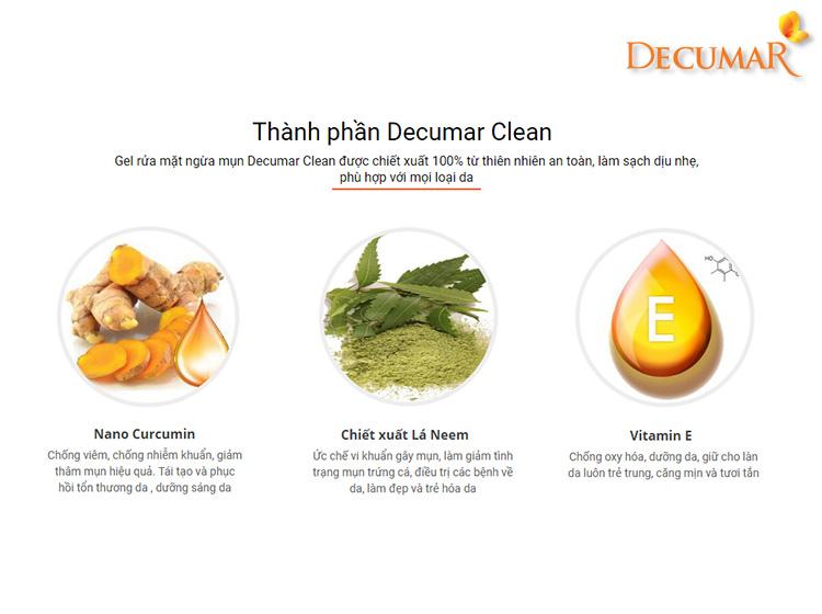 Thành phần của Decumar Clean hoàn toàn là từ thiên nhiên