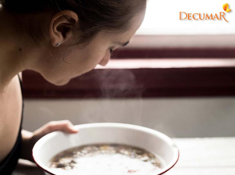 Xông mặt cùng sả, tía tô và muối tinh giúp da mặt thông thoáng, làm giảm mụn thâm trên da