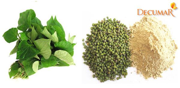 Đậu xanh và rau diếp cá