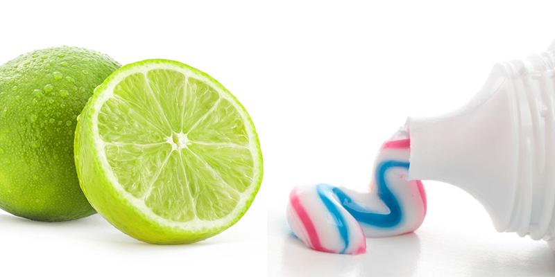 kem đánh răng và chanh
