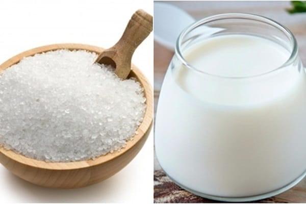 Trị mụn ẩn bằng sữa tươi và muối tinh