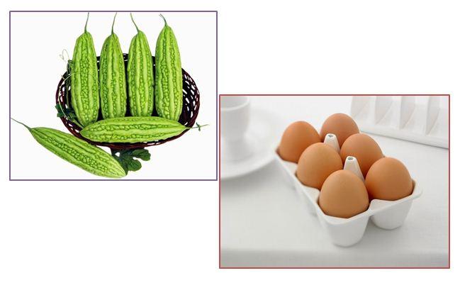 Trứng gà và mướp đắng