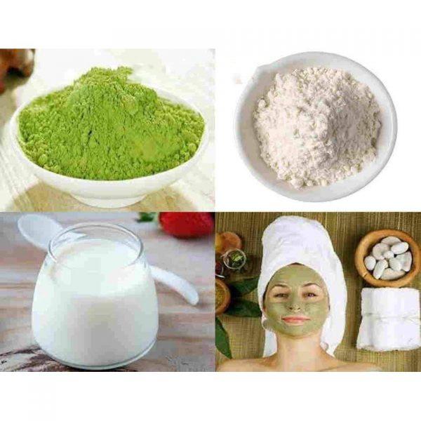 Bột trà xanh, cám gạo và sữa tươi dùng làm mặt nạ trị mụn cám
