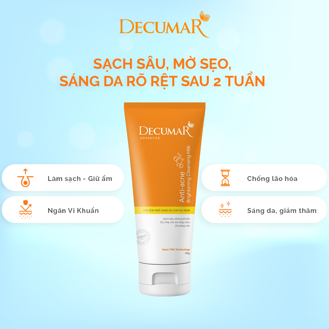Sữa rửa mặt ngừa mụn sáng da Decumar